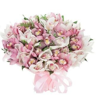 Bouquet of white and pink orchids