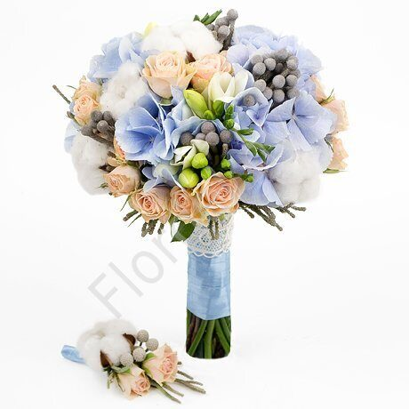 Premium package - Bridal bouquet with cotton