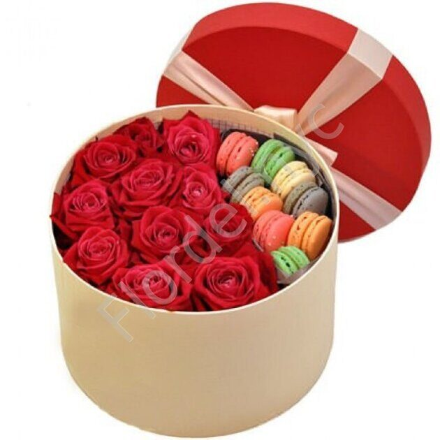 Red roses and macarons
