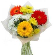 Bouquet of gerberas and chrysanthemums