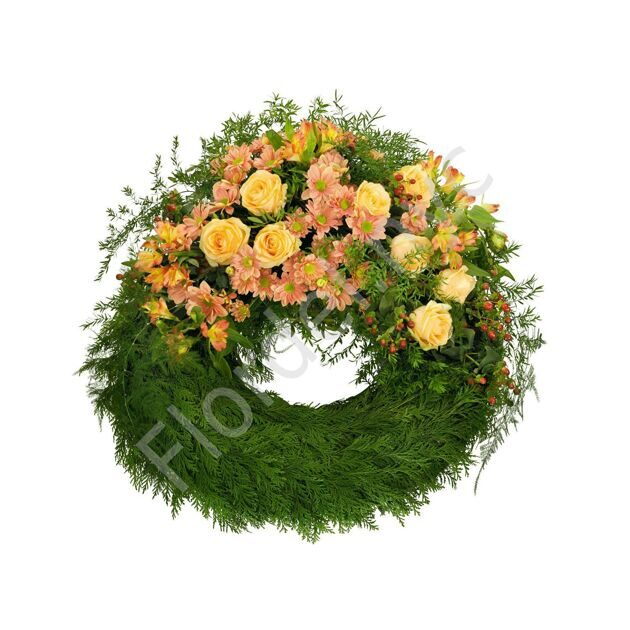 Funeral wreath with thuja branches