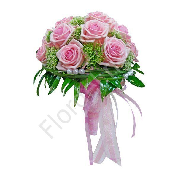 Deluxe package - Pink rose in holder bouquet