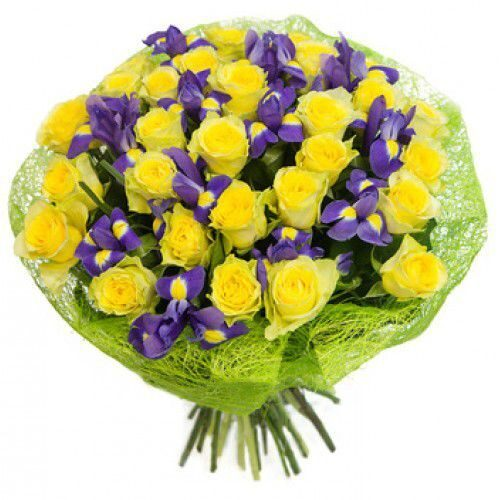 Bouquet of irises and yellow roses