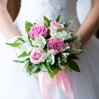 Bridal bouquet with roses and alstromerias