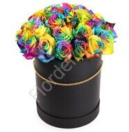 Rainbow roses in black box