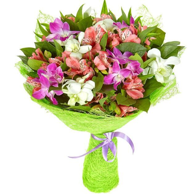 Bouquet of alstroemerias and orchids
