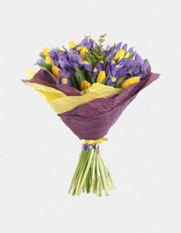 Bouquet of irises and yellow tulips in package