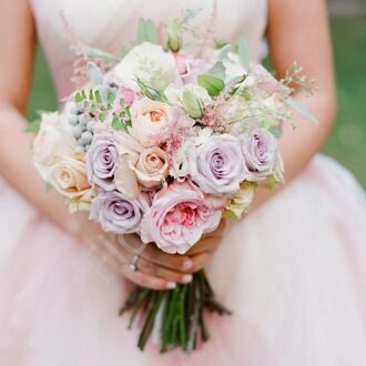 Bridal bouquet with roses and greenery