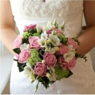 Bridal bouquet with roses and freesia