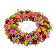 Funeral wreath with dianthus