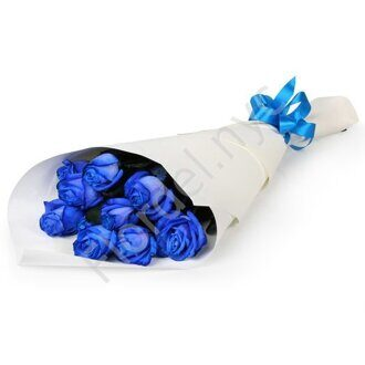Blue roses wrapped in paper