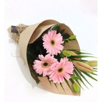 Bouquet of lilies and pink gerberas