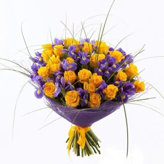 Yellow roses and irises in the package
