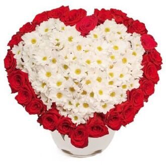 Bouquet of red roses and white chrysanthemums