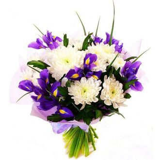 Bouquet of white chrysanthemums and irises
