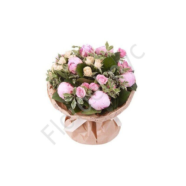 Basket of peonies and spray roses