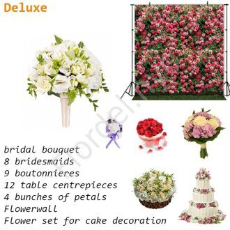 Deluxe package - Bridal bouquet with roses of David Austin and dianthus