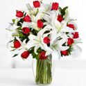 Bouquet of tulips and white lilies