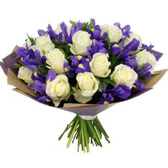 Bouquet of blue irises and white roses in package