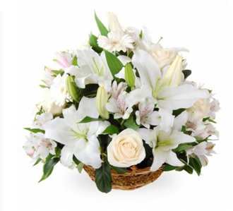 Basket of roses and lilies