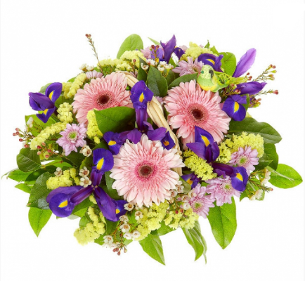 Basket of gerberas and irises