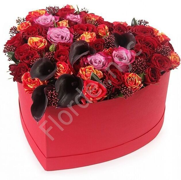 Red box with roses and callas