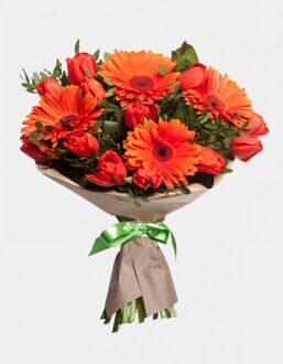 Bouquet of red tulips and gerberas
