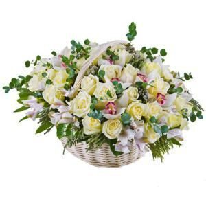 Basket of roses and orchids