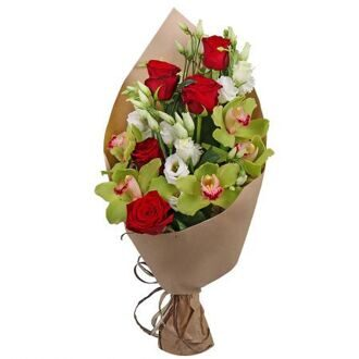 Bouquet of red roses and green orchids