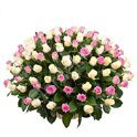 White and pink roses in basket