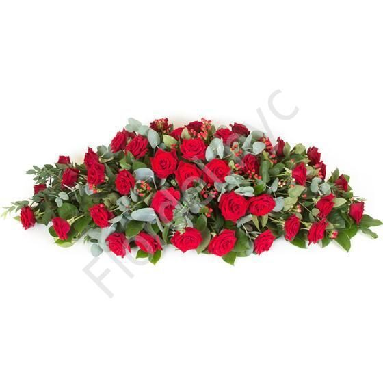 Casket Spray with red roses