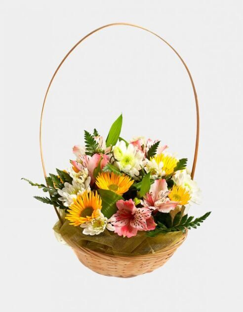 Basket of alstroemerias and chrysanthemums
