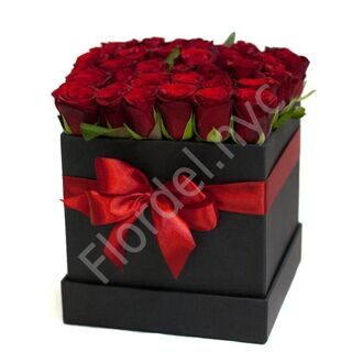 Black box with red roses
