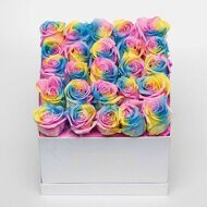 Rainbow roses in square box