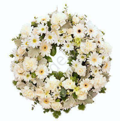 European wreath of white flowers + standing