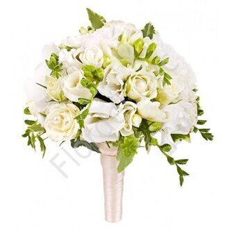 White bridal bouquet in holder