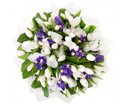Bouquet of blue and white irises with tulips