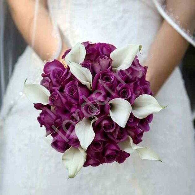 Deluxe package - Bridal bouquet with roses and white callas