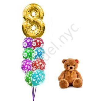 Birthday set with teddy bear