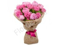 Basket of peonies and roses