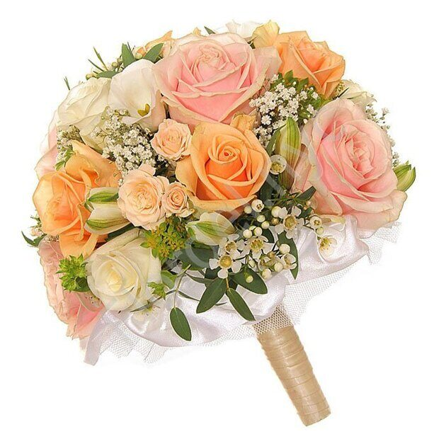 Deluxe package - Peach rose bridal bouquet