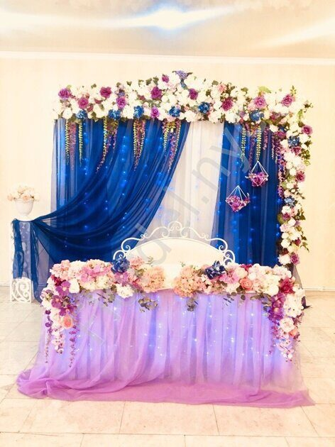 Wedding decoration of table and wall