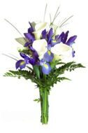 Bouquet of white callas and irises