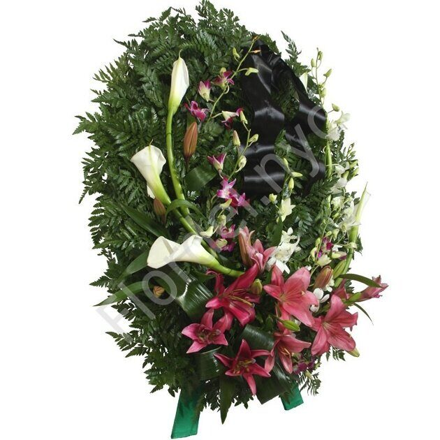 Standing arrangement of lilies and callas