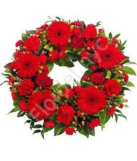Red European wreath of sympathy + standing