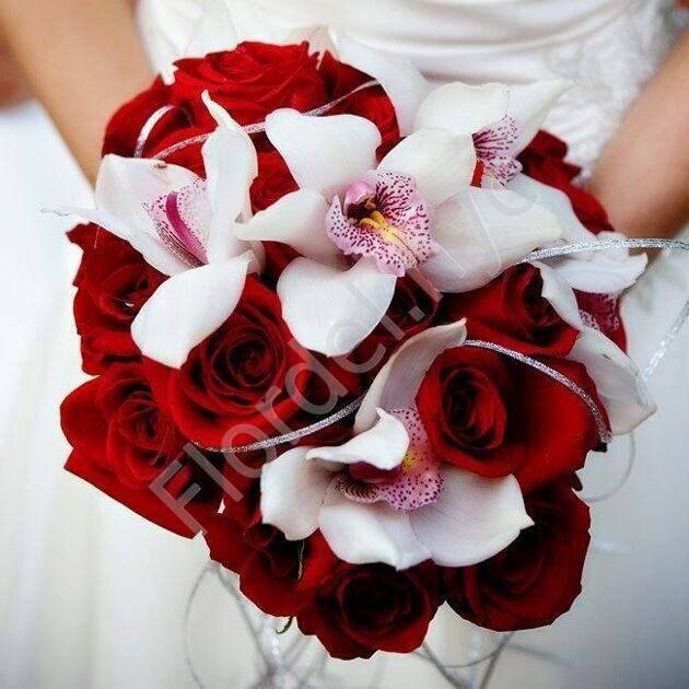 Deluxe package - Bridal bouquet with roses and orchids
