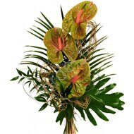 Green anthurium bouquet