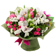 Bouquet of orchids and roses with statica