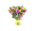 Bouquet of lisianthus and yellow tulips