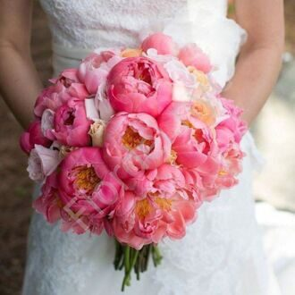 Bridal bouquet with peonies and roses